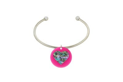 Mother of Pearl Heart with Stainless Steel Cuff Bracelet