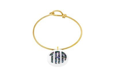Mother of Pearl Monogram with Decorative Wire Bracelet