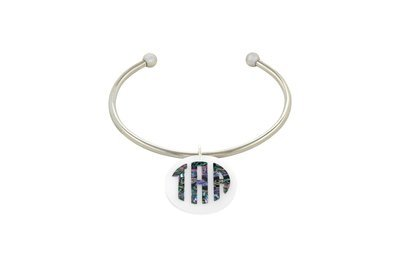 Mother of Pearl Monogram with Stainless Steel Cuff Bracelet