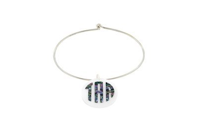 Mother of Pearl Monogram with Sterling Silver Bangle Bracelet
