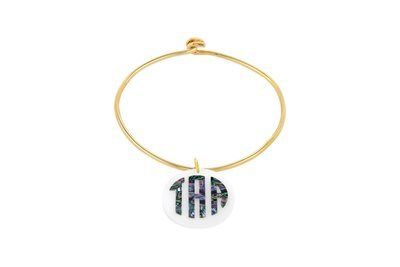 Mother of Pearl Monogram with Sterling Silver Bangle Bracelet with Yellow Gold Plating