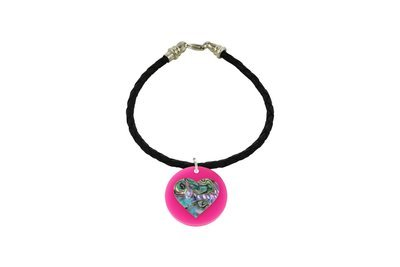 Mother of Pearl Heart with Decorative Braided Leather Cord Bracelet