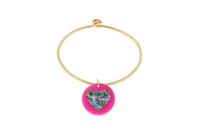 Mother of Pearl Heart with Sterling Silver Bangle Bracelet with Yellow Gold Plating