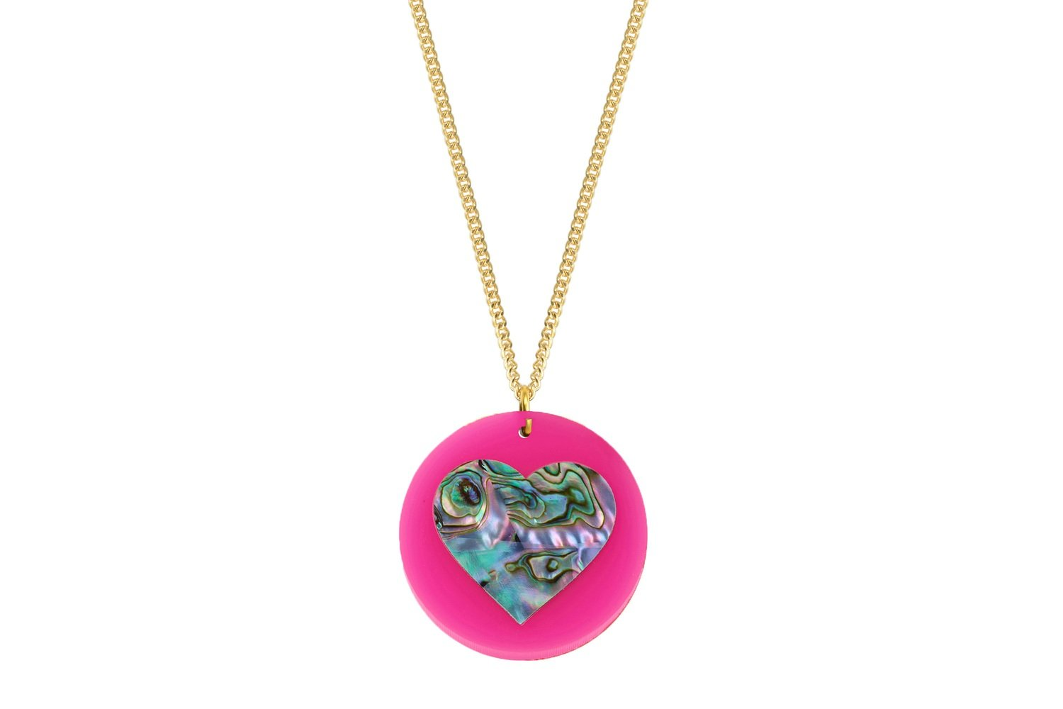 Mother of Pearl Heart Pendant with Chain