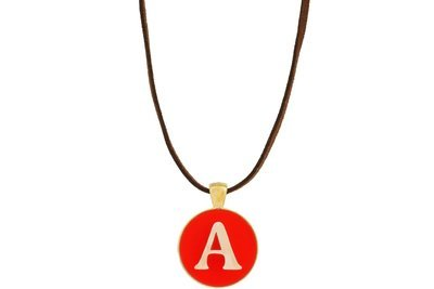 Block Alphabet Pendant Intricate Style on Suede Leather Cord Necklace