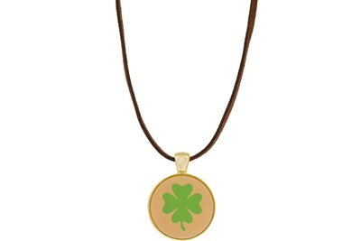 Clover Pendant Intricate Style on Suede Leather Cord Necklace