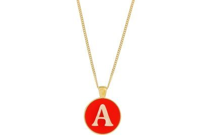 Block Alphabet Pendant Intricate Style on Chain Necklace