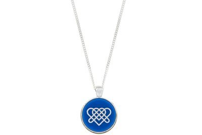 Heart Knot Celtic Symbol Pendant Classic Style with Bezel on Chain Necklace
