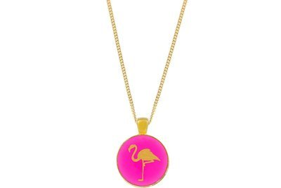 Flamingo Pendant Classic Style with Bezel on Chain Necklace