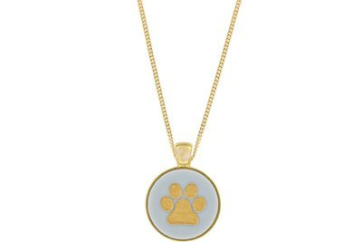 Dog Paw Print Pendant Classic Style with Bezel on Chain Necklace