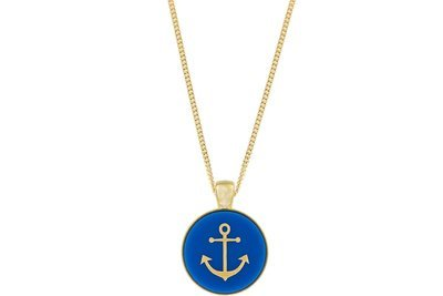 Anchor Pendant Classic Style with Bezel on Chain Necklace