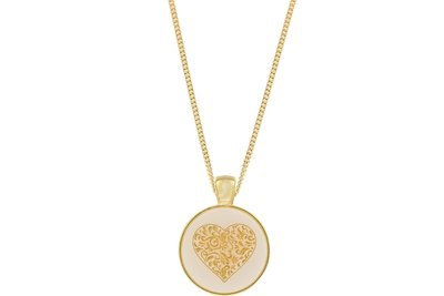 Heart Scroll Pendant Classic Style with Bezel on Chain Necklace