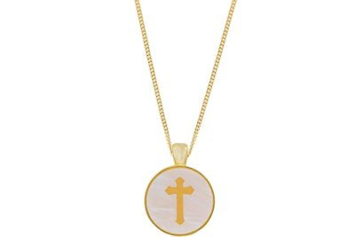 Cross Pendant Classic Style with Bezel on Chain Necklace