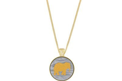 Elephant Pendant Classic Style with Bezel on Chain Necklace