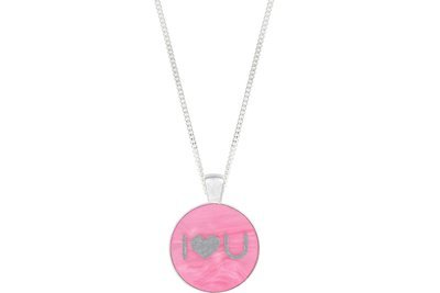 I Heart U Pendant Classic Style with Bezel on Chain Necklace