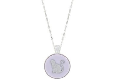 Cat Pendant Classic Style with Bezel on Chain Necklace
