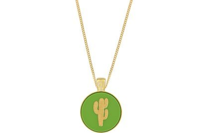 Cactus Pendant Classic Style with Bezel on Chain Necklace