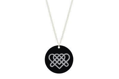 Heart Knot Celtic Symbol Pendant Subtle Style Refined with Paint on Chain Necklace