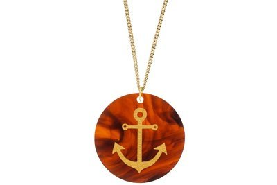 Anchor Pendant Subtle Style Refined with Paint on Chain Necklace