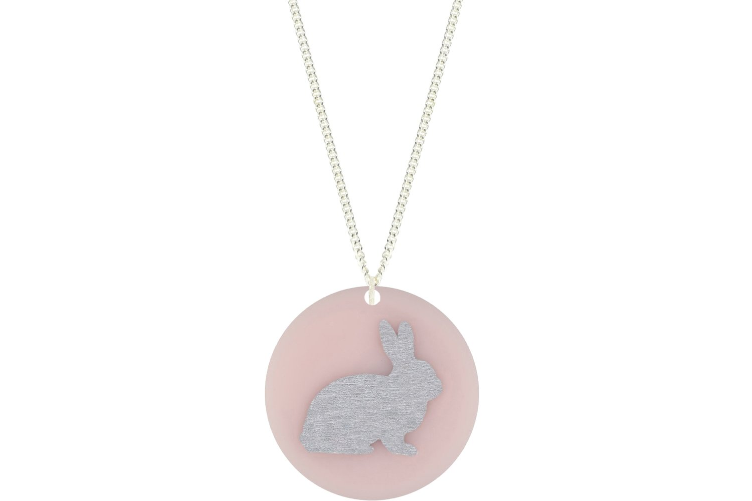 Bunny Pendant Subtle Style Refined with Paint on Chain Necklace
