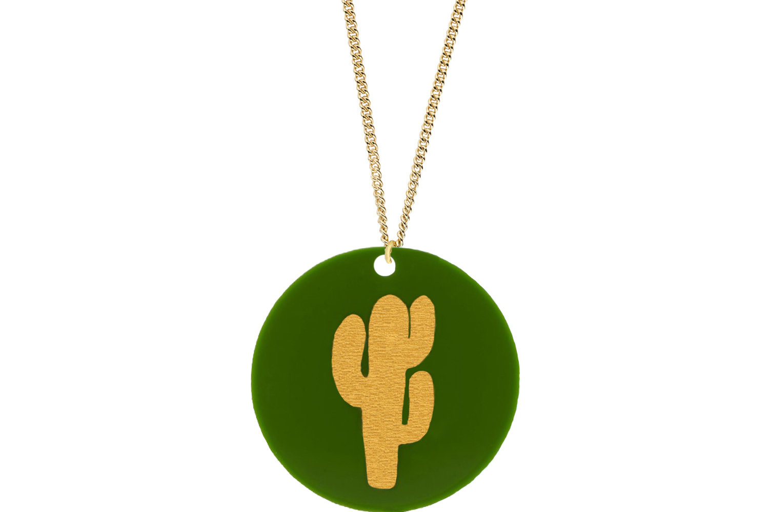 Cactus Pendant Subtle Style Refined with Paint on Chain Necklace