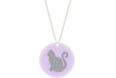 Cat Pendant Subtle Style Refined with Paint on Chain Necklace