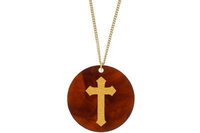 Cross Pendant Subtle Style Refined with Paint on Chain Necklace