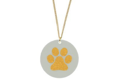 Dog Paw Print Pendant Subtle Style Refined with Paint on Chain Necklace