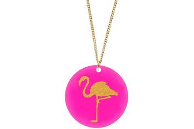 Flamingo Pendant Subtle Style Refined with Paint on Chain Necklace