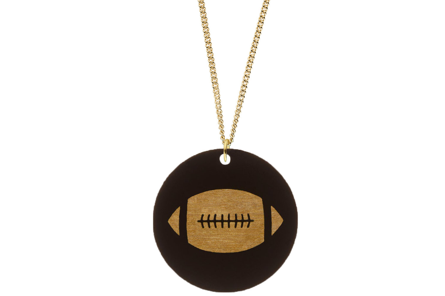 Football Pendant Subtle Style Refined with Paint on Chain Necklace