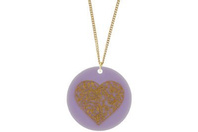 Heart Scroll Pendant Subtle Style Refined with Paint on Chain Necklace