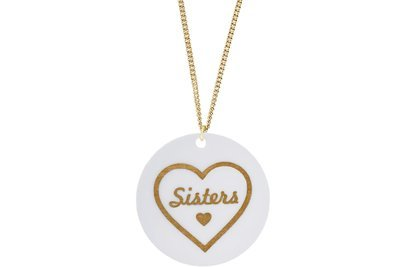 Heart w/Sisters Pendant Subtle Style Refined with Paint on Chain Necklace