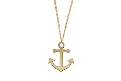 Anchor Pendant Sculpted Style on Chain Necklace