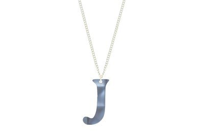 Block Alphabet Pendant Sculpted Style on Chain Necklace