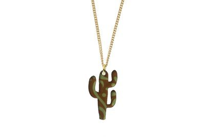 Cactus Pendant Sculpted Style on Chain Necklace