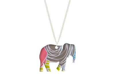 Elephant Pendant Sculpted Style on Chain Necklace