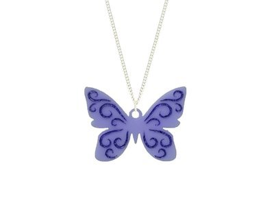 Butterfly Pendant Carved Style Refined with Paint on Chain Necklace