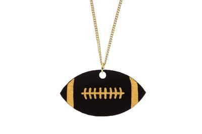 Football Pendant Carved Style Refined with Paint on Chain Necklace
