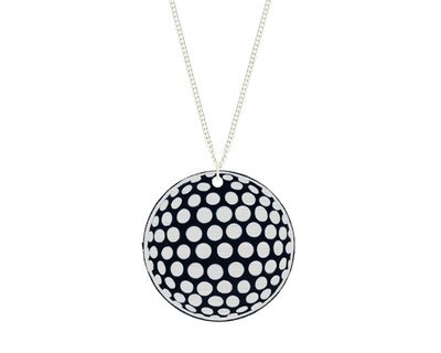 Golf Ball Pendant Carved Style Refined with Paint on Chain Necklace