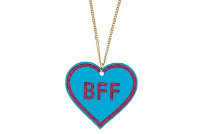 Heart with BFF Pendant Carved Style Refined with Paint on Chain Necklace