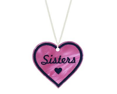 Heart with Sisters Pendant Carved Style Refined with Paint on Chain Necklace