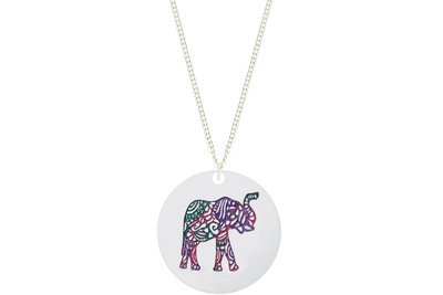 Elephant Aztec Pendant Hand Painted Style on Chain Necklace