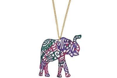 Elephant Aztec Shape Pendant Hand Painted Style on Chain Necklace