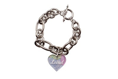Custom Heart Charm with Name or Saying on Decorative Rope Bracelet