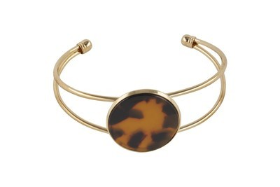 Bangle Bracelet with Tortoiseshell Disc & Gold Finish