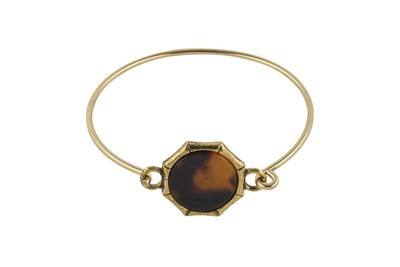 Bangle Bracelet with Tortoiseshell Accent & Antique Gold Finish