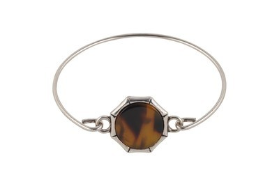 Bangle Bracelet with Tortoiseshell Accent with Silver Finish