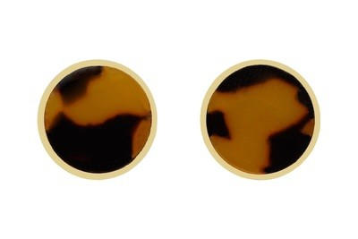 Tortoiseshell Earrings in Gold Finish