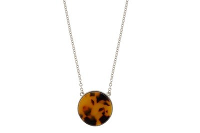 Tortoiseshell Necklace with Silver Finish Chain