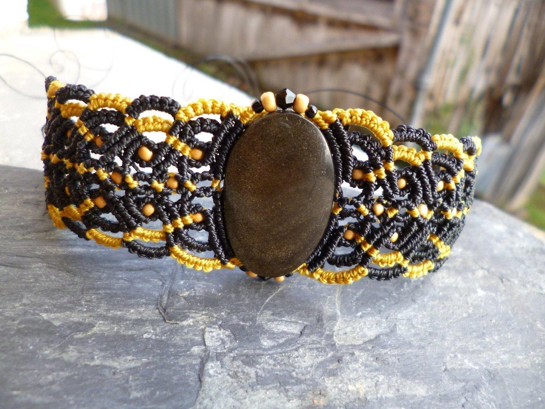 Nouveaux produits 6041b 0b3eb Bracelet macramé et obsidienne dorée